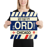 "RWY23 - ORD Chicago Airport Code Vintage Baggage Tag Design Poster - 16""x16"""