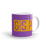 RWY23 - GSP Greenville-Spartanburg, South Carolina Airport Code Coffee Mug - Graduation Gift, Housewarming Gift - Orange and Purple - Right