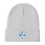 RWY23 - MEM Memphis Winter Hat - Embroidered Airport Code and Vintage Roundel Design - White - Aviation Gift