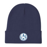 RWY23 - LAS Las Vegas Winter Hat - Embroidered Airport Code and Vintage Roundel Design - Navy Blue - Travel Gift
