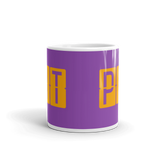 RWY23 - PIT Pittsburgh, Pennsylvania Airport Code Coffee Mug - Teacher Gift, Airbnb Decor - Orange and Purple - Side