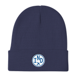 RWY23 - IND Indianapolis Winter Hat - Embroidered Airport Code and Vintage Roundel Design - Navy Blue - Travel Gift