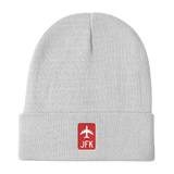 RWY23 - JFK New York Retro Jetliner Airport Code Dad Hat - White - Travel Gift