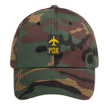 RWY23 - PDX Portland Retro Jetliner Airport Code Dad Hat - Green Camo - Front - Student Gift