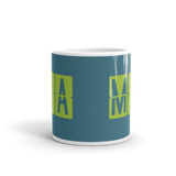 RWY23 - MIA Miami, Florida Airport Code Coffee Mug - Teacher Gift, Airbnb Decor - Green and Teal - Side