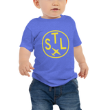 RWY23 - STL St. Louis T-Shirt - Airport Code and Vintage Roundel Design - Baby - Blue - Gift for Grandchild or Grandchildren