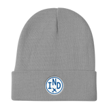 RWY23 - IND Indianapolis Winter Hat - Embroidered Airport Code and Vintage Roundel Design - Gray - Birthday Gift