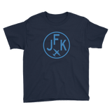 RWY23 - JFK New York T-Shirt - Airport Code and Vintage Roundel Design - Youth - Navy Blue - Gift for Grandchildren