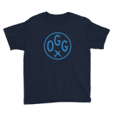 OGG Maui T-Shirt • Youth • Airport Code & Vintage Roundel Design • Light Blue Graphic