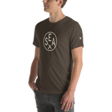 RWY23 - SEA Seattle T-Shirt - Airport Code and Vintage Roundel Design - Adult - Army Brown - Gift for Dad or Husband