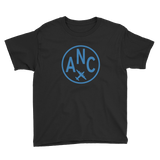 RWY23 - ANC Anchorage T-Shirt - Airport Code and Vintage Roundel Design - Youth - Black - Gift for Grandchild