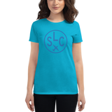 RWY23 - SLC Salt Lake City T-Shirt - Airport Code and Vintage Roundel Design - Women's - Caribbean blue - Gift for Mom