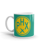 RWY23 - PHX Phoenix, Arizona Airport Code Coffee Mug - Birthday Gift, Christmas Gift - Yellow and Green-Aqua - Left
