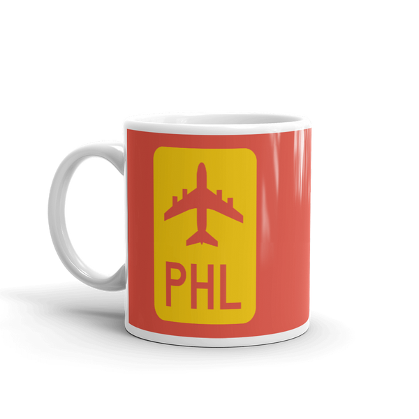 RWY23 - PHL Philadelphia Airport Code Jetliner Coffee Mug - Birthday Gift, Christmas Gift - Red and Yellow - Left