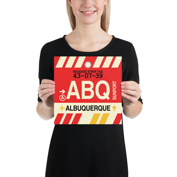 "RWY23 - ABQ Albuquerque Airport Code Vintage Baggage Tag Design Poster - 10""x10"""