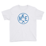 RWY23 - MKE Milwaukee T-Shirt - Airport Code and Vintage Roundel Design - Youth - White - Gift for Child or Children