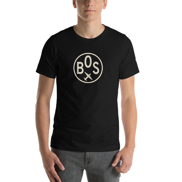 RWY23 - BOS Boston T-Shirt - Airport Code and Vintage Roundel Design - Adult - Black - Birthday Gift