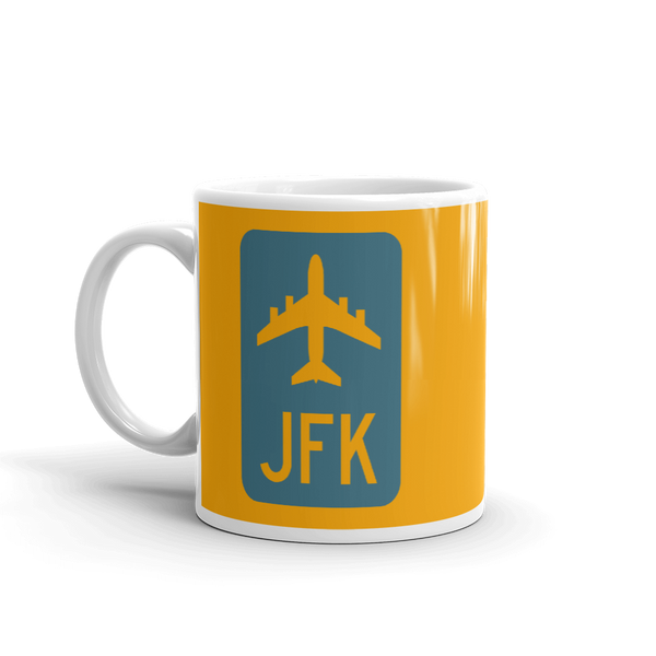 RWY23 - JFK New York Airport Code Jetliner Coffee Mug - Birthday Gift, Christmas Gift - Blue and Orange - Left