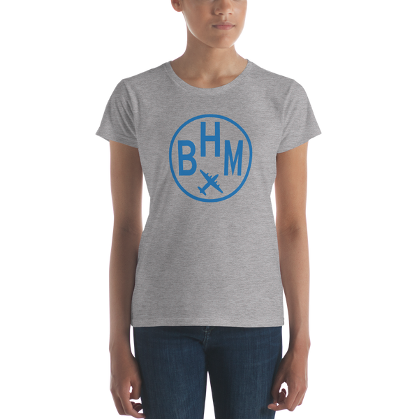 RWY23 - BHM Birmingham T-Shirt - Airport Code and Vintage Roundel Design - Women's - Heather Grey - Gift for Her