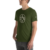 RWY23 - SAN San Diego T-Shirt - Airport Code and Vintage Roundel Design - Adult - Olive Green - Gift for Dad or Husband