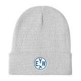 RWY23 - EYW Key West Winter Hat - Embroidered Airport Code and Vintage Roundel Design - White - Aviation Gift