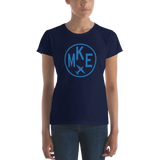 RWY23 - MKE Milwaukee T-Shirt - Airport Code and Vintage Roundel Design - Women's - Navy Blue - Gift for Wife