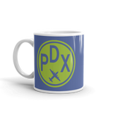 RWY23 - PDX Portland, Oregon Airport Code Coffee Mug - Birthday Gift, Christmas Gift - Green and Blue - Left