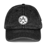 RWY23 - DAL Dallas Cotton Twill Cap - Airport Code and Vintage Roundel Design - Black - Front - Christmas Gift