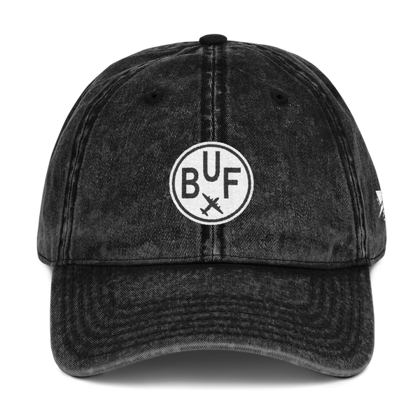 RWY23 - BUF Buffalo Cotton Twill Cap - Airport Code and Vintage Roundel Design - Black - Front - Christmas Gift