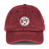 RWY23 - BUF Buffalo Cotton Twill Cap - Airport Code and Vintage Roundel Design - Maroon - Front - Aviation Gift