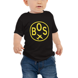 RWY23 - BOS Boston T-Shirt - Airport Code and Vintage Roundel Design - Baby - Black - Gift for Child or Children