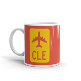 RWY23 - CLE Cleveland Airport Code Jetliner Coffee Mug - Birthday Gift, Christmas Gift - Red and Yellow - Left