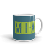 RWY23 - MIA Miami, Florida Airport Code Coffee Mug - Graduation Gift, Housewarming Gift - Green and Teal - Right
