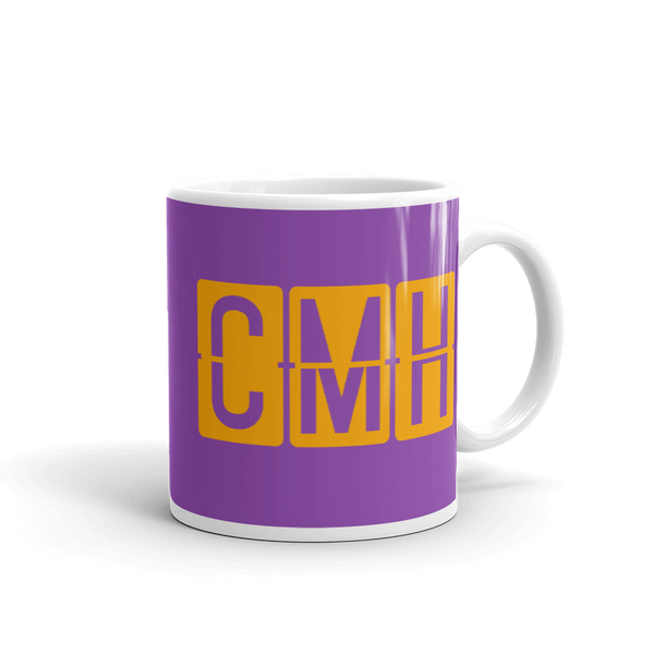 RWY23 - CMH Columbus, Ohio Airport Code Coffee Mug - Graduation Gift, Housewarming Gift - Orange and Purple - Right