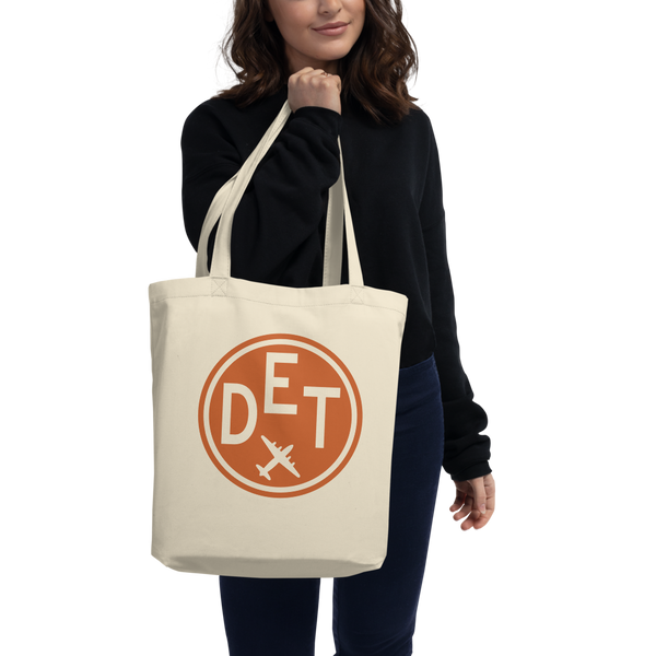 RWY23 - DET Detroit Organic Tote - Airport Code & Vintage Roundel Design - Environmentally-Conscious Gift