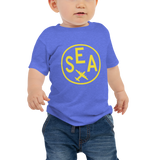 RWY23 - SEA Seattle T-Shirt - Airport Code and Vintage Roundel Design - Baby - Blue - Gift for Grandchild or Grandchildren
