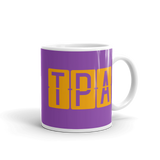 RWY23 - TPA Tampa, Florida Airport Code Coffee Mug - Graduation Gift, Housewarming Gift - Orange and Purple - Right