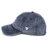 RWY23 - DFW Dallas-Fort Worth Cotton Twill Cap - Airport Code and Vintage Roundel Design - Navy Blue - Left Side - Travel Gift