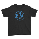 RWY23 - BNA Nashville T-Shirt - Airport Code and Vintage Roundel Design - Youth - Black - Gift for Grandchild