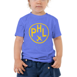 RWY23 - PHL Philadelphia T-Shirt - Airport Code and Vintage Roundel Design - Toddler - Blue - Gift for Child or Children