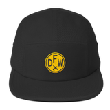 RWY23 - DFW Dallas-Fort Worth Camper Hat - Airport Code and Vintage Roundel Design -Black - Christmas Gift