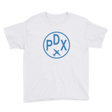 RWY23 - PDX Portland T-Shirt - Airport Code and Vintage Roundel Design - Youth - White - Gift for Child or Children