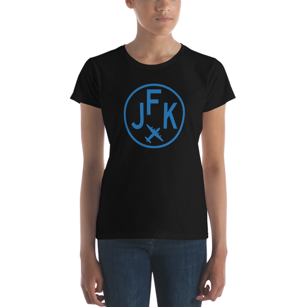 RWY23 - JFK New York T-Shirt - Airport Code and Vintage Roundel Design - Women's - Black - Gift for Girlfriend