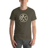 OKC Oklahoma City T-Shirt • Adult • Airport Code & Vintage Roundel Design • Light Brown Graphic