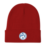 RWY23 - PDX Portland Winter Hat - Embroidered Airport Code and Vintage Roundel Design - Red - Student Gift