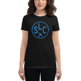 RWY23 - SLC Salt Lake City T-Shirt - Airport Code and Vintage Roundel Design - Women's - Black - Gift for Girlfriend