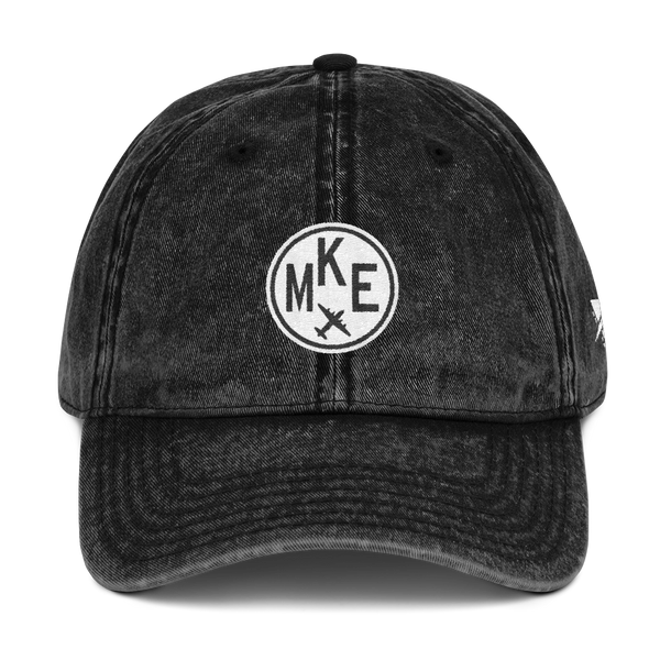 RWY23 - MKE Milwaukee Cotton Twill Cap - Airport Code and Vintage Roundel Design - Black - Front - Christmas Gift