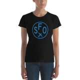 RWY23 - SFO San Francisco T-Shirt - Airport Code and Vintage Roundel Design - Women's - Black - Gift for Girlfriend