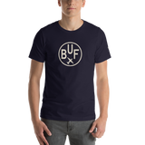 RWY23 - BUF Buffalo T-Shirt - Airport Code and Vintage Roundel Design - Adult - Navy Blue - Birthday Gift