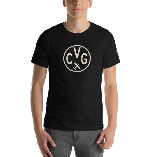 CVG Cincinnati T-Shirt • Adult • Airport Code & Vintage Roundel Design • Light Brown Graphic